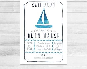 Watercolor Sailboat Birthday Party Invitation, Printable Digital Invite File, Sailing, Nautical, White