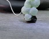 Raw Crystal Necklace Prehnite on Epidote Mother and Child Stone Pendant  Ethereal Style Surreal Jewelry Strange and Unusual Peculiar Style