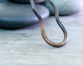 4 1/2 inch Hair Fork, Dark Chocolate Brown, Three Curves, Minimalist Style, Artisan Design, 032316