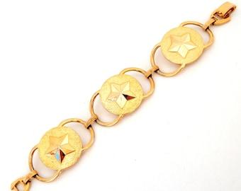 Vintage Sarah Coventry MILITARY BRASS Bracelet, Gold Tone Big Star Link Bracelet Coventry, Gold Star Bracelet Western Military