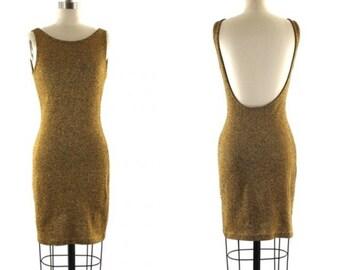 1980s Anne Klein dress •  gold sparkle tank dress •  scoop back dress •  metallic gold mini dress S