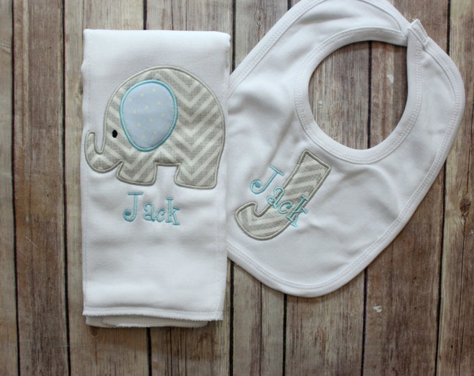 Baby Boy Elephant Burp Cloth Set - Monogrammed Elephant Burp Cloth and Initial Bib - Chevron Elephant Baby Gift - Personalized Baby Boy Gift