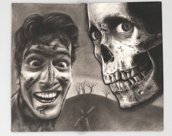 Throw Blanket | Evil Dead 2 with Bruce Campbell as Ash Williams and Skull - This Horror Art is From Drawing