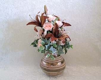 Silk Flower Arrangement in Ceramic Striped Pot with Brown Lilies and Peach Roses - Silk Floral Arrangement - Home Decor - Office Decor