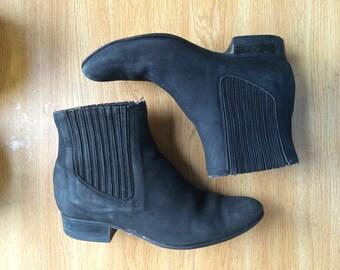 Vintage Black Suede Chelsea Boots