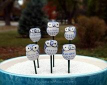 Fairy Garden Owl - Miniature Bird Fairy Garden Accessory - Light Blue Owl