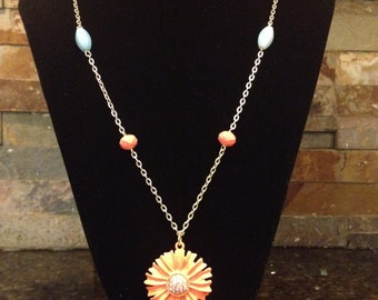 Coral Peach and Turquoise Flower Charm Pendant Link Necklace with Antiqued Gold Chain