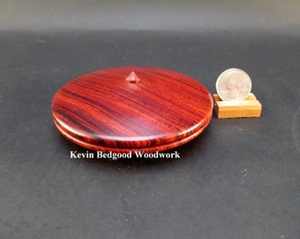 Box Lidded Container Cocobolo Rosewood clamshell low profile hand turned jewelry