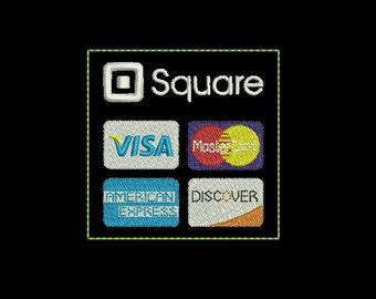 Feltie Machine Embroidery Design Instant Download - Feltie Square Credit Card Logo (Words)