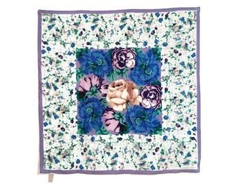 Adrienne Vittadini Silk Scarf Rose Carnations Blue Violet Purple Floral Vintage Fashion