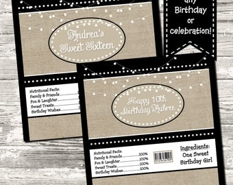 Burlap Stringlights Birthday Sweet Sixteen Party Candy Bar Chocolate Bar Wrappers Favor Print Your Own