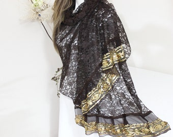 Brown lace scarf, Gold lace shawls, Brown lady shawls, Gold processing shawls, Gold tasseled shawls, Bright shawls, Women's Christmas gifts