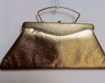 Vintage gold Judy Jetson-esque evening handbag/purse 50's/ 60's