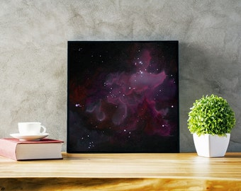 Pink and Purple Nebula Art Print, 12x12  16x16  20x20  24x24, Unframed
