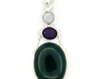 Dazzling! New Green Onyx,Amethyst,Moonstone 925 Sterling Silver Pendant Jewelry A0519