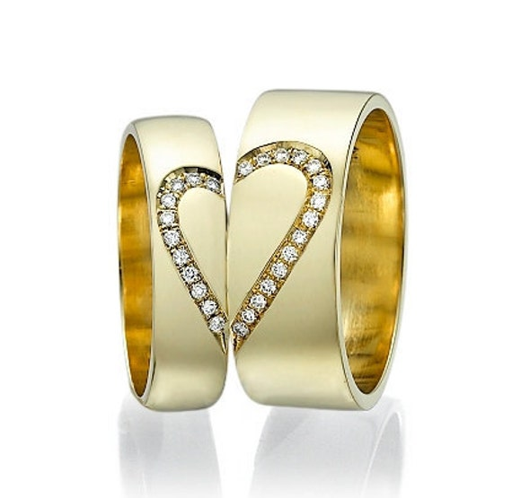 18k Promise ring Men and Women Heart Wedding Bands 0 14 crt