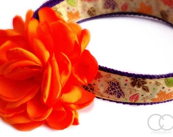 Fall Dog Collar, Thanksgiving dog collar, Fall Leaves, Autumn Leaves dog collar, large dog collar, dog collar