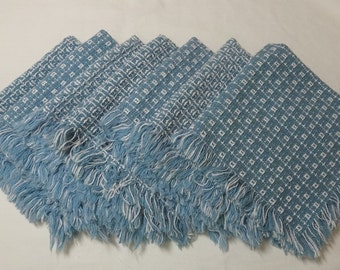 1970s Vintage Set of 7 Blue & White Mountain Weave Dinner Napkins, 16 x 15 Inches with Fringe, Heavy Cotton Woven Napkins, Vintage Linens