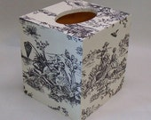 Handmade Decoupage Wood Tissue Box, Vintage French Toile, Cream with Black