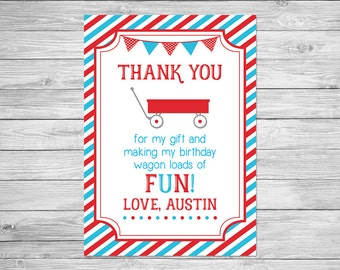 Little Red Wagon Birthday Thank You Card Printable - Roll On Over Birthday Thank You Card