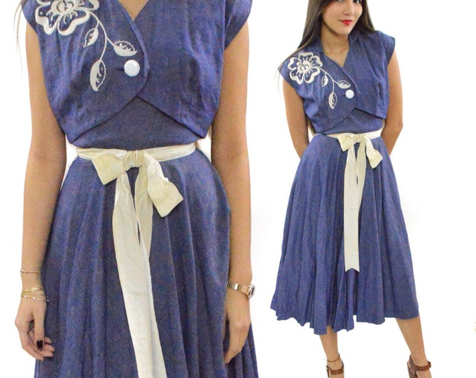 Vintage 50s Virginia Spear Rockabilly Blue Denim-Style Embroidered Floral Gown Dress with Sash