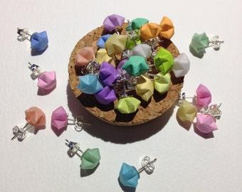 3D Origami Paper Star Stud Earrings