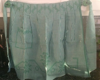 Vintage green check/gingham apron with pocket - FREE SHIPPING in US