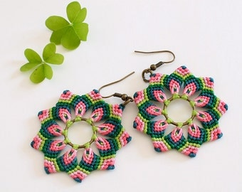 Macrame festival earrings with mandala flower / dangle earrings boho hippie green pink / handmade earrings / colorful earrings /boho jewelry