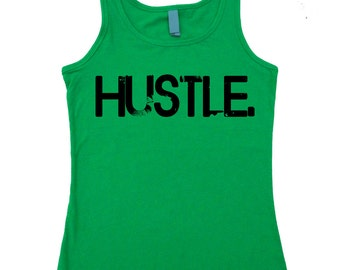 HUSTLE. Fitted Workout Tank.