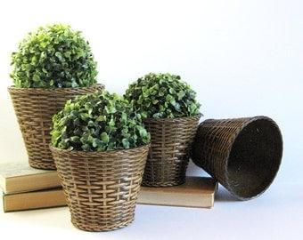 Set of 4 Vintage Planters - Emsa West Germany Plastic Wicker Planter Pots - Faux Wicker Decor - Indoor Garden Decor - Mid Century Planters