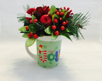 Christmas Decor, Christmas Reversible Floral Design,Christmas Floral Decor, Holiday Decor,Coffee Mug Floral Arrangement,Nutcracker Mug Decor