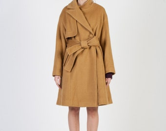 Modern Asymmetrisch High-Grade Angora Coat _ Camel