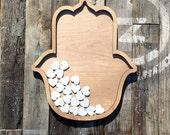 Hamsa Wedding Guestbook Alternative Drop Top Heart Shadow Box - Hand of God Fatima Rustic Asian Indian Unique