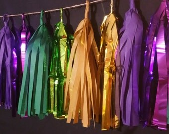 ONLY 15.99, 20 Tassel Mardi Gras Tissue Paper Garland, Mardi Gras Decoration, New Orleans, Monte Carlo Party, Gambling Party, Wedding, Poms