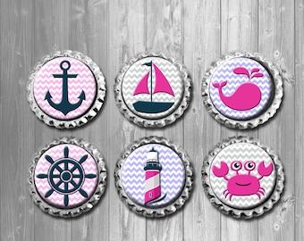 Nautical Chevron Baby Girl Bottle Cap Magnets - Set of 6