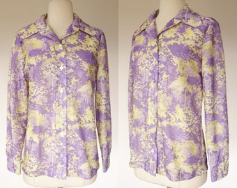 1970s purple top, forest tree print blouse, long sleeve, yellow button up top, Large, Gilda