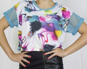 Mesh Tee in Funky Abstract Print by Get Crooked