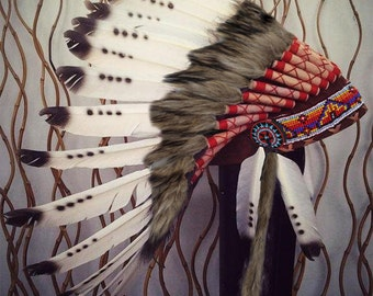 READY FOR HALLOWEEN . X03 Three colors Black and White indian Feather Headdress / native american Warbonnet .