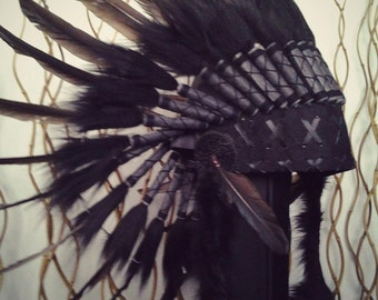 N64- Black Feather Headdress. Native American Inspired