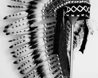 Medium Indian  White and Black  Feather Headdress   ( 36 inch long ). Native American Style. Warbonnet