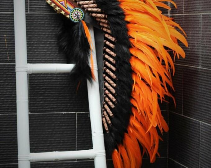 Y10 Medium  Orange  Feather Headdress (36  inch long )/ war bonnet.