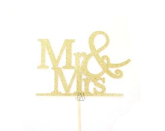 MR & MRS Glitter Cake Topper - cake Bunting, wedding, engagement, birthday, baby shower, tea party