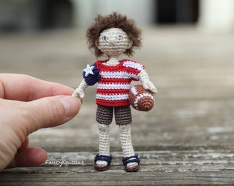 American boy doll USA flag t-shirt crochet art doll miniature fancy collectable toy July 4th Independence day gift interior doll amigurumi