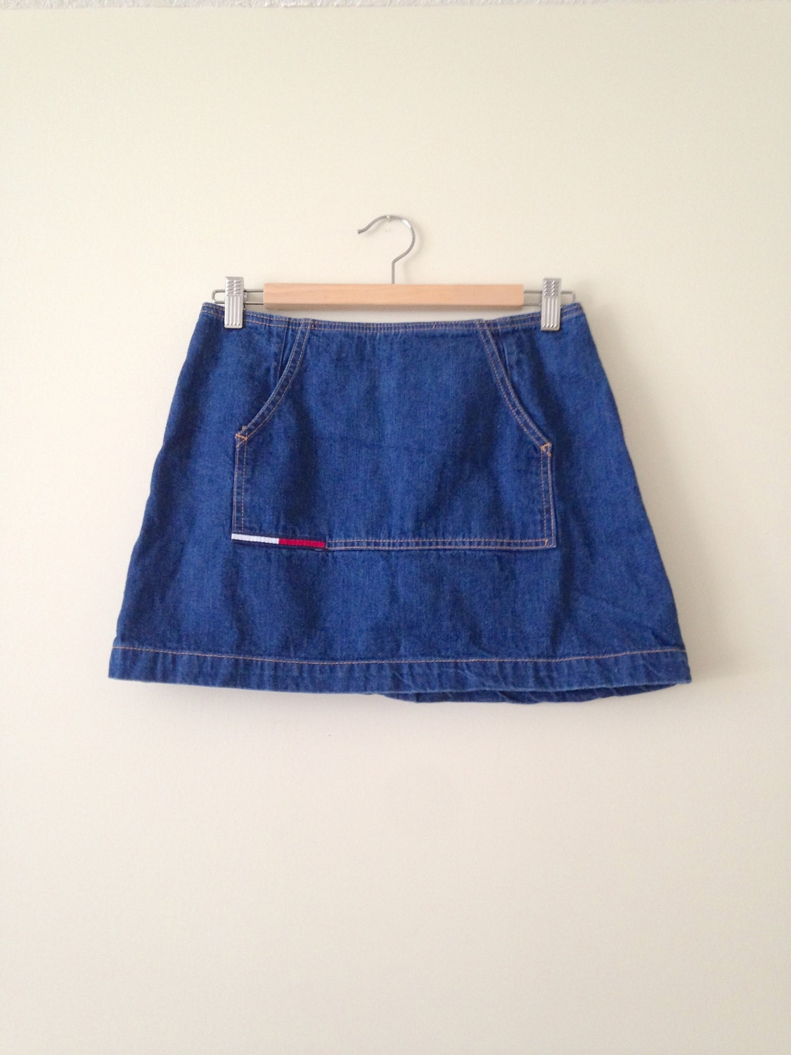 vintage 90s tommy hilfiger dark denim mini skirt by. Black Bedroom Furniture Sets. Home Design Ideas