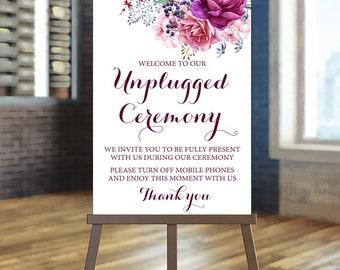 Printable Wedding Sign, Burgundy Unplugged Wedding Sign, Unplugged Ceremony Sign, Floral Wedding Sign,  Burg wedding Sign Boho Ceremony Sign
