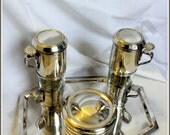 Thirties art deco silver plated Wiskemann coffee filter set.