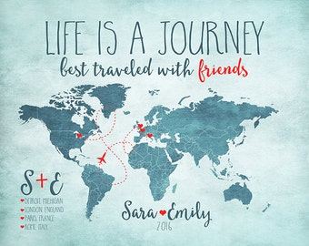 Life is a Journey, Custom Travel Map, Best Friends Travel Together, European Trip, Vacation with Friend, London, Paris, Study Abroad | WF189