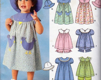 Simplicity 7189,  Girls Pullover Sun Dresses, Gathered at Yoke Dresses, Hats and Panties Sewing Pattern, Sizes 6 Months to 4 Yrs, New