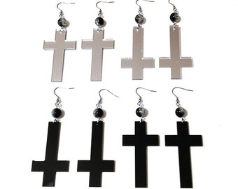 Black Silver Mirror Acrylic Cross Inverted Cross Earrings with Moon Phase Glass Beads