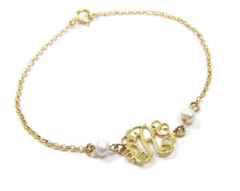 "Personalized Monogram Bracelet 0.6"" made of solid Sterling silver 925 plated with 18k gold and pearls."